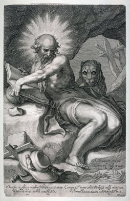 St. Jerome and Lion in a cave