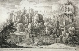 Hillside with buildings in foreground road with figures