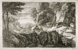 Landscape with river and waterfalls, figure at right