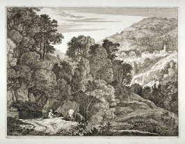 Landscape: hilly landscape with man resting and mule drinking water from stream - #9