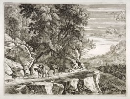 Landscape: rocks and road with two men on horse back and two men walking - #3