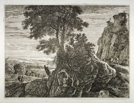 Landscape: to the left , in foreground two men walking; to right, castle on top of rock with road underneath and man with packmule