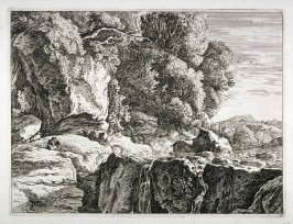Landscape: to the left, man sitting among rocks and trees