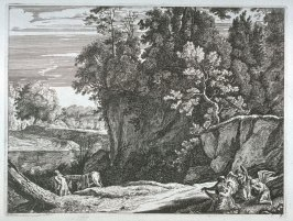 [Landscape:Madonna and Child with two angels]