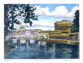 Hadrian's Tomb on the Tiber looking toward St. Peter's in the distance, Rome