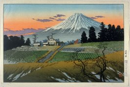 View of Mount Fuji (with house and fields)