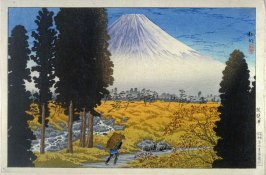 View of Mount Fuji (with peasant walking)
