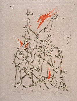 Frontispiece in the book L'Antitête (Antihead) by Tristan Tzara, volume II: Minuits pour Géants (Paris: Bordas, 1949)