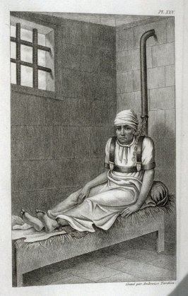 Aliéné enchainé a Bedlam ( Mentally Ill Person Chained in Bedlam), pl. 25 for vol. 2, in the book, Des maladies mentales considérées sous les rapports médical, hygiénique et médico-légal (Mental Illnesses Considered from Medical, Hygienic, and Medico-Lega