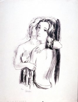 Two nude girls embracing