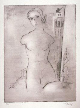 Female torso with architecture