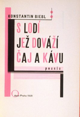 Title page, in the book S Lodí Jez Dovází Caj A Kávu by Konstantin Biebl (Prague: Odeon, 1928)