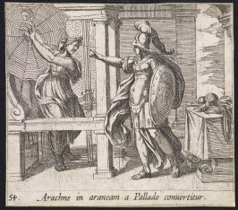Arachne in araneam a Pallade convertitur (Athena Changing Arachne into a Spider), pl. 54 from the series Ovid's Metamorphoses