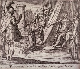 Purpureum parentis capillum Minoi offert Scylla (Scylla Rejected by Minos after Destroying Her Father), pl. 73 from the series Ovid's Metamorphoses