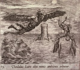Daedalus Icaro alto nimis ambienti orbatur (The Fall of Icarus), pl. 75 from the series Ovid's Metamorphoses