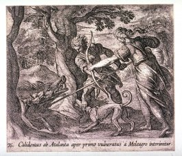 Calidonius ab Atalanta aper primo vulneratus a Meleagro interimitur (Atalanta and Meleager Killing the Wild Boar), pl. 76 from the series Ovid's Metamorphoses