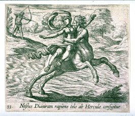 Nessus Dianiram rapiens telo ab Hercule configitur (Nessus Attempting to take Dejanera from Hercules), pl. 83 from the series Ovid's Metamorphoses