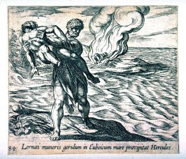 Lernaei muneris gerulum in Euboicum mare praecipitat Hercules (Hercules Throwing Lichas into the Sea), pl. 84 from the series Ovid's Metamorphoses