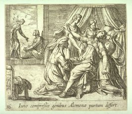 Iuno compressis genibus Alcmenae partum differt (The Birth of Hercules), pl. 86 from the series Ovid's Metamorphoses