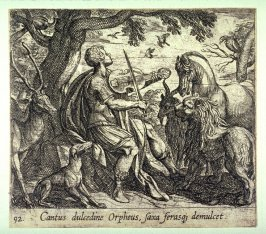 Cantus dulcedine Orpheus, saxa ferasqz demulcet (Orpheus Singing to the Wild Animals), pl. 92 from the series Ovid's Metamorphoses