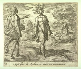 Cyparissus ab Apolline in arborem commutatur (Cyparissus Changed into a Cypress Tree), pl. 93 from the series Ovid's Metamorphoses