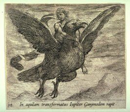 In aquilam transformatus Iupiter Ganymedem rapit (Jupiter and Ganymede), pl. 94 from the series Ovid's Metamorphoses