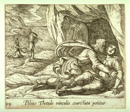 Peleus Thetide vinculis coarctata potitur (Peleus Embracing Thetis), pl. 104 from the series Ovid's Metamorphoses