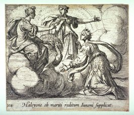 Halcyone ob mariti reditum Iunoni supplicat (Alcyone Offering Prayers to Juno), pl.108 from the series Ovid's Metamorphoses