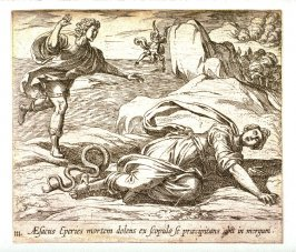 Aesacus Eperies mortem dolens ex scopulo se praecipitans abit in mergum (Aesacus and Hespia), pl.111 from the series Ovid's Metamorphoses