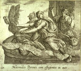 Maeonides Pyrenei vim effugientes in aves (Anius's Daughters Changing into Birds), pl.127 from the series Ovid's Metamorphoses