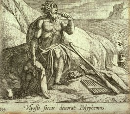 Ulyssis socios devorat Polyphemus (Polyphemus Eating Ulysses' Men, as Achaemides Watches), pl.134 from the series Ovid's Metamorphoses