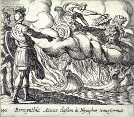 Berecynthia Aeneae classem in Nymphas transformat (The Trojan Ships Changed into Nymphs), pl.140 from the series Ovid's Metamorphoses