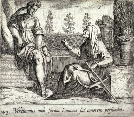 Vertumnus anili forma Pomonae sui amorem persuadet (Pomona and Vertumnus), pl.142 from the series Ovid's Metamorphoses