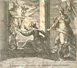 Aglauros a Mercurio in lapidem transformatur (Mercury Turning Aglauros to Stone), pl. 20 from the series Ovid's Metamorphoses
