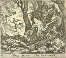 Draco Martius Cadmi socios depascit (Cadmus' Men Killed by the Serpent), pl. 22 from the series Ovid's Metamorphoses