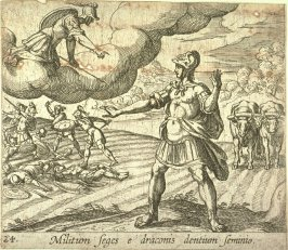 Militum seges e draconis dentium seminio (The Warring Men Born of the Serpent's Teeth), pl. 24 from the series Ovid's Metamorphoses