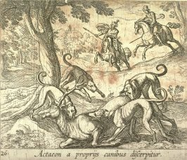 Actaeon a propriÿs canibus discerpitur (Acteon Killed by his Dogs), pl. 26 from the series Ovid's Metamorphoses