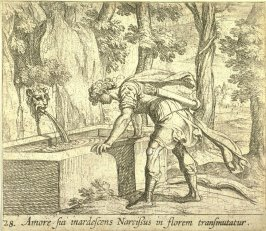 Amore sui inardescens Narcissus in florem transmutatur (Narcissus at the Well), pl. 28 from the series Ovid's Metamorphoses
