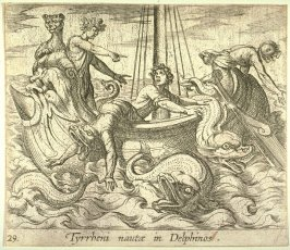 Tyrrheni nautae in Delphinos (Bacchus Changing His Kidnappers into Monsters), pl. 29 from the series Ovid's Metamorphoses
