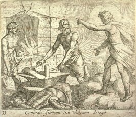 Coniugis furtum Sol Vulcano detegit (Apollo at Vulcan's Forge), pl. 33 from the series Ovid's Metamorphoses
