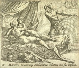Martem Veneremqz adulterantes Vulcanus reti suo implicat (Vulcan Entrapping Mars and Venus), pl. 34 from the series Ovid's Metamorphoses