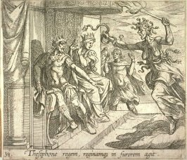 Thesiphone regem, reginamqz in furorem agit (The Fury Tisiphone at the Palace of Athamas), pl. 38 from the series Ovid's Metamorphoses