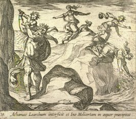 Athamas Learchum interficit et Ino Melicertam in aequor praecipitat (The Insane Athamas Killing Learchus, While Ino and Melicertor Jump into the Sea), pl. 39 from the series Ovid's Metamorphoses