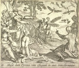 Musae dum Pyrenei vim effugiunt in aves transformantur (Metamorphosis of the Pierides), pl. 45 from the series Ovid's Metamorphoses