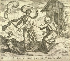 Deridens Cererum puer in stellionem abit (Ceres Turning a Boy into a Lizard), pl. 48 from the series Ovid's Metamorphoses