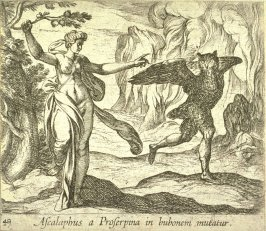 Ascalaphus a Proserpina in bubonem mutatur (Proserpina Turning Asclaphus into an Owl), pl. 49 from the series Ovid's Metamorphoses