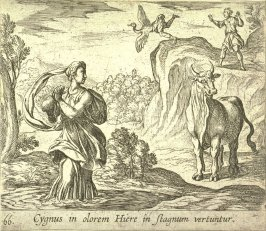 Cygnus in olorem Hiere in stagnum vertuntur (Cycnus and Hyrie), pl. 66 from the series Ovid's Metamorphoses