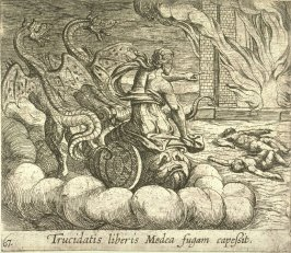 Trucidatis liberis Medea fugam capessit( Medea Destroying Jason's Family and Home), pl. 67 from the series Ovid's Metamorphoses