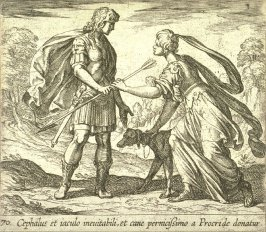 Cephalus et iaculo inevitabili, et cane pernicissimo a Procride donatur (Procris Giving Cephalus a Dog and a Javelin), pl. 70 from the series Ovid's Metamorphoses