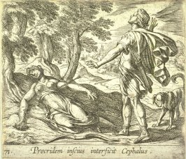 Procridem inscius interficit Cephalus (Procris Killed by Cephalus' Javelin), pl. 71 from the series Ovid's Metamorphoses